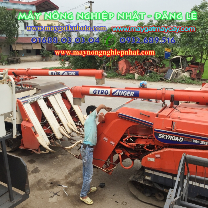 bán máy gặt nhật bãi kubota r1 55 đi gia lâm hà nội hà tây phụ tùng máy gặt
